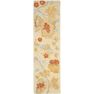 Safavieh Handmade Blossom Beige Wool Rug (2'3 x 6')