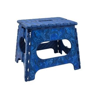 Three to Tango Blue Feather Swirl Folding Step Stool