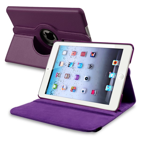INSTEN Purple Leather Swivel Tablet Case Cover for Apple iPad Mini 1/ 2 Retina Display