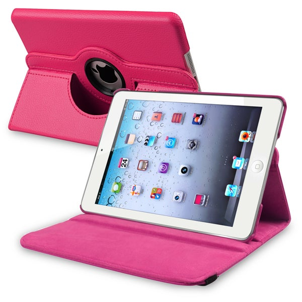 INSTEN Hot Pink Leather Swivel Tablet Case Cover for Apple iPad Mini 1/ 2 Retina Display