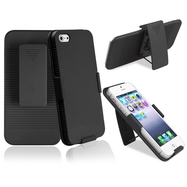 INSTEN Black Swivel Holster with Stand for Apple iPhone 5/ 5S