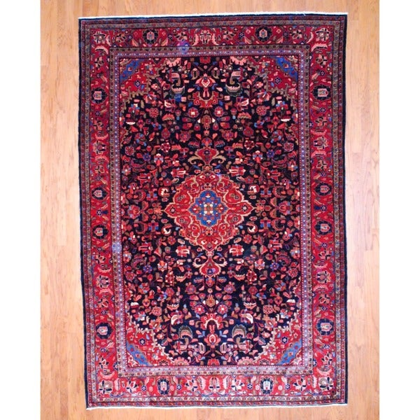 Persian Hand-knotted Lilihan Sarouk Navy/ Red Wool Rug (7'8 x 11'3)