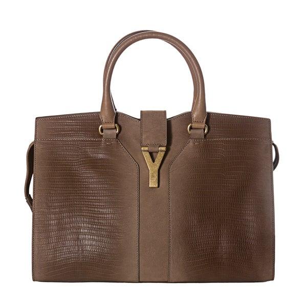 Yves Saint Laurent 'Cabas ChYc' Medium Tan Embossed Leather Tote Bag