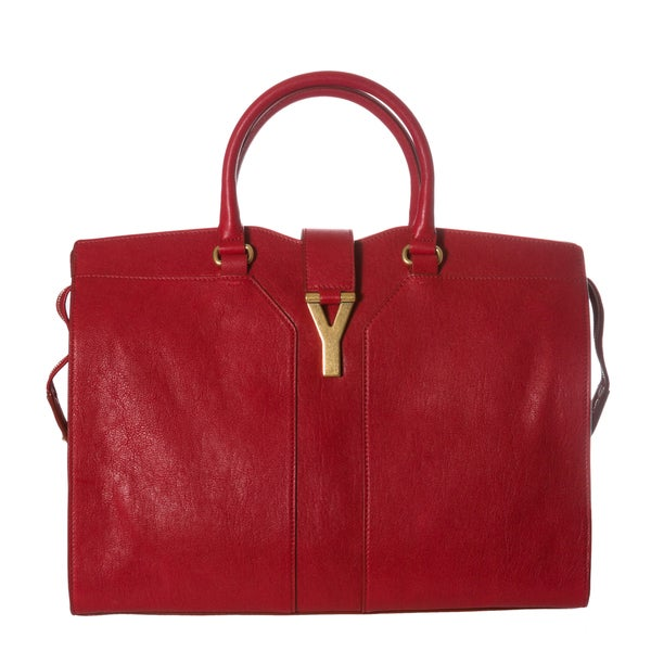 Yves Saint Laurent 'Grand Cabas Y' Red Leather Tote Bag