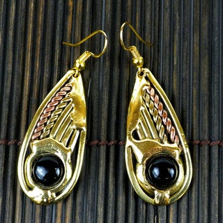 Handmade Copper, Brass and Onyx Earrings (South Africa)