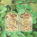 Handcrafted Brass and Copper Leaf Vine Dangle Earrings (India)