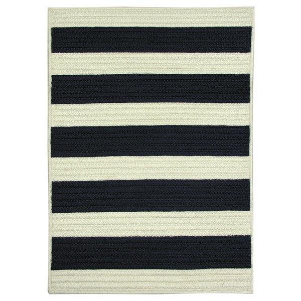 Nautical Stripe Navy Braided Rug