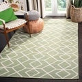 Hand-woven Moroccan Dhurrie Sage Green Wool Rug