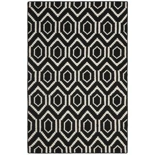 Safavieh Hand-woven Moroccan Reversible Dhurrie Black Wool Rug (9' x 12')