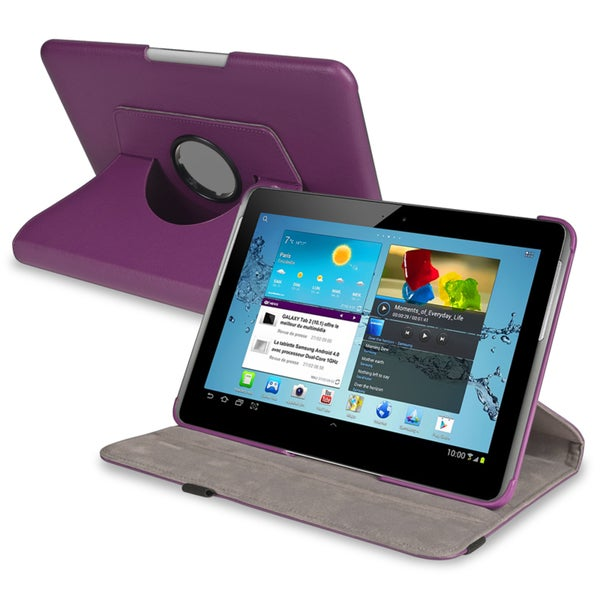 BasAcc Purple Swivel Case for Samsung Galaxy Tab 2 P5100/P5110/10.1-inch