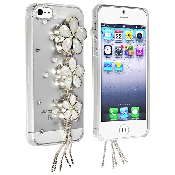 BasAcc Clear/ White Flowers Snap-on Case for Apple® iPhone 5