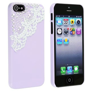 BasAcc Apple iPhone 5 Purple with Lace and Pearl Case
