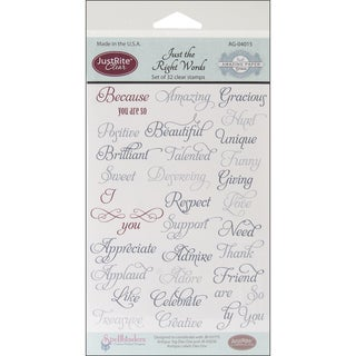 JustRite Stampers Clear Stamp Set-Just The Right Words 32pc