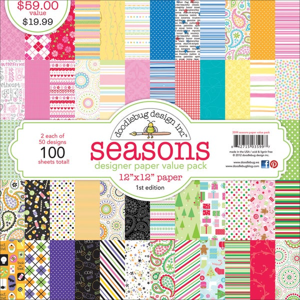 "Doodlebug Value Pack Pattern Paper 12""X12"" 100/Sheets-Seasons - 50 Designs/2 Each"