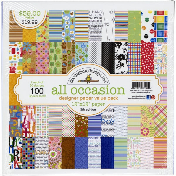 """Doodlebug Value Pack Pattern Paper 12""""X12"""" 100/Sheets-All Occasion - 50 Designs/2 Each"""