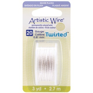 Artistic Wire Twisted Round 3 Yards/Pkg-20 Gauge Silver