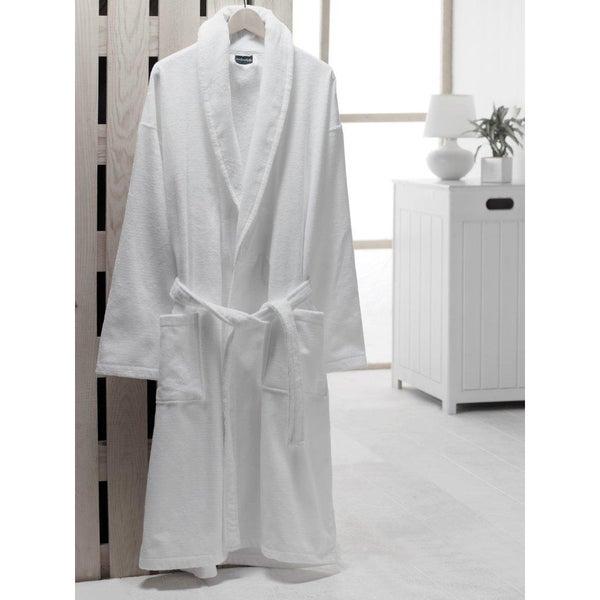 Salbakos Velour Shawl Collar Turkish Cotton Bath Robe