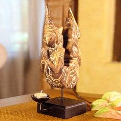 Rain Tree Wood and Iron 'Mythical Kinnanorn' Candleholder (Thailand)