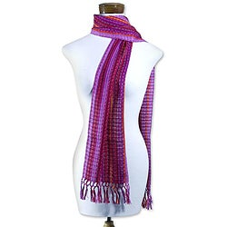 Handcrafted Cotton 'Orchid Fiesta' Scarf (Guatemala)