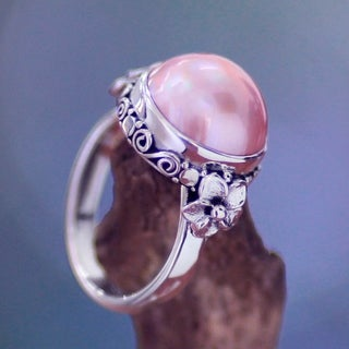 Sterling Silver 'Love Moon' Pearl Ring (13 mm) (Indonesia)