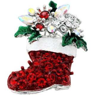 Silvertone Crystal Christmas Boot Brooch