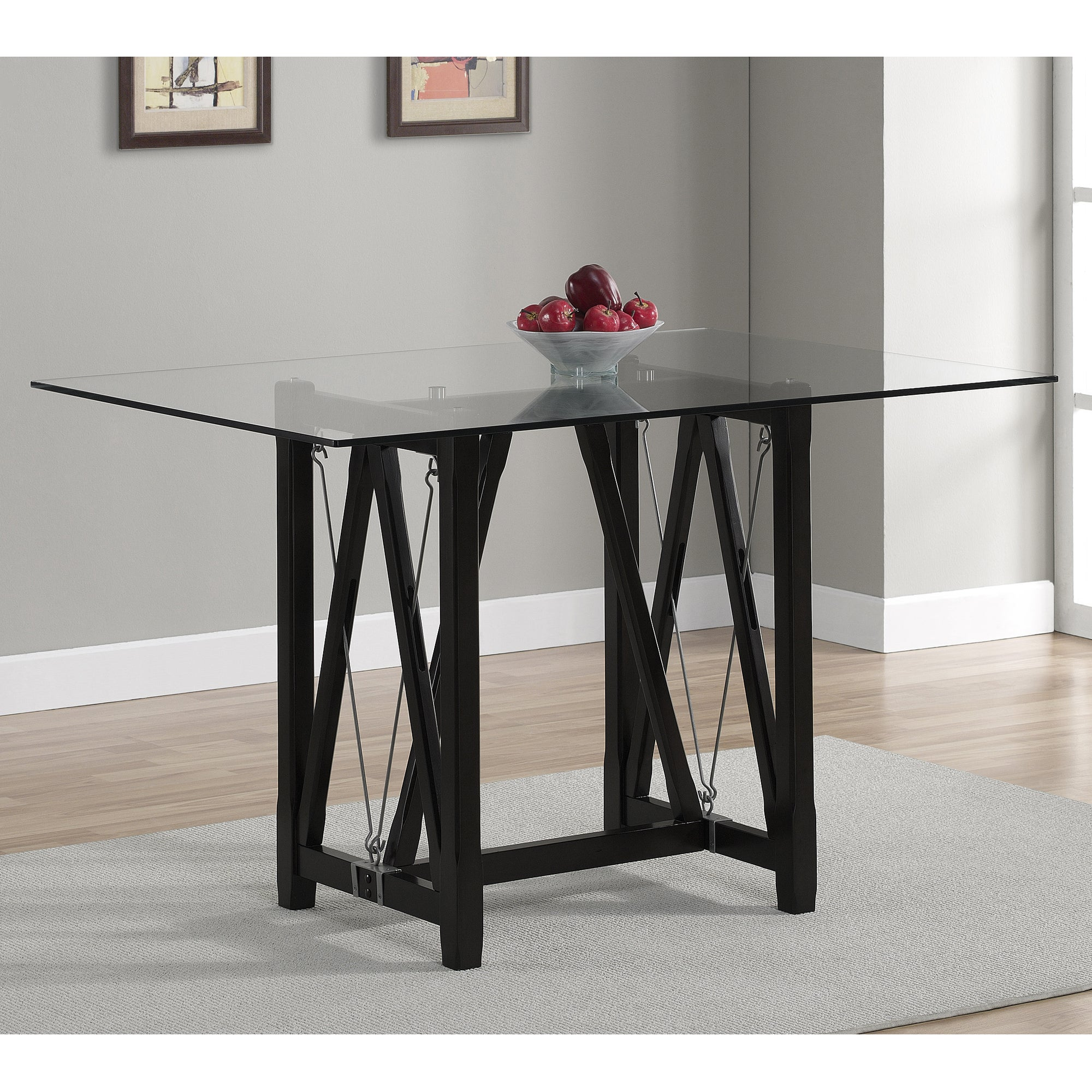 Cable dark espresso tempered glass dining table for Tempered glass dining table