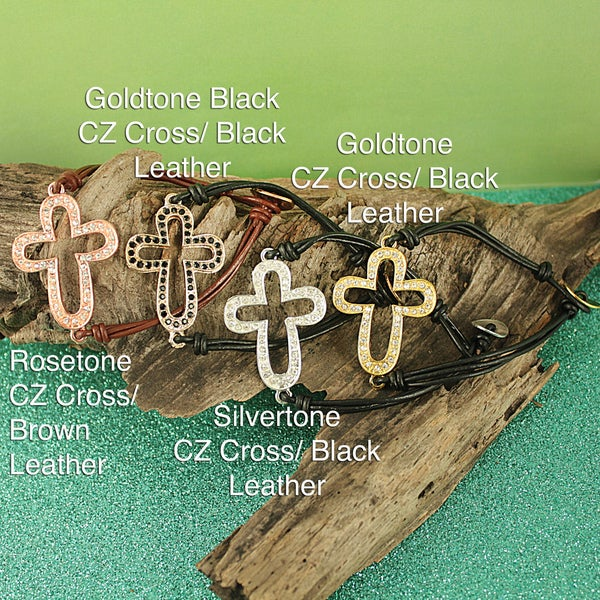 Handcrafted Metal Sideways CZ Cross and Leather Bracelet