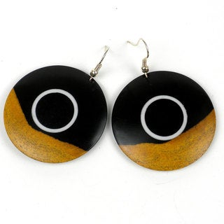Two Tone Blackwood White Band Earrings (Mozambique)