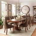 Atelier Traditional French Burnished Brown Pedestal 9-piece Dining Set