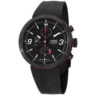 Oris Men's 'TT1' Black Dial Black Rubber Strap Chronograph Watch