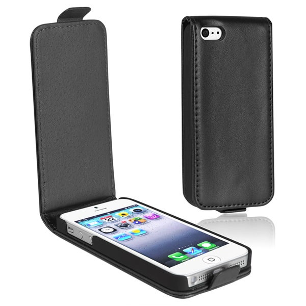 INSTEN Black 2 Snap-on Leather Phone Case Cover for Apple iPhone 5/ 5S