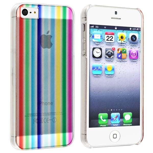 INSTEN Rainbow Strip Snap-on Phone Case Cover for Apple iPhone 5/ 5S