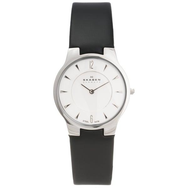 Skagen Men's Steel Ultra Slim Leather Strap Watch
