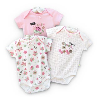 Organically Grown Infant 'Garden Fun' Organic Cotton Bodysuits (Set of 3)
