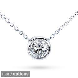 Annello 14k Gold Moissanite Solitaire Necklace