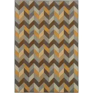 Outdoor/Indoor Grey/Gold Abstract Area Rug