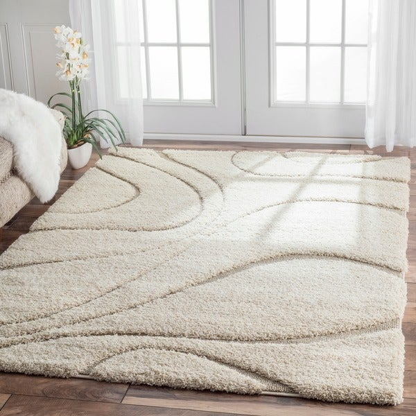 Nuloom Soft And Plush Curves Ivory Beige Shag Area Rug