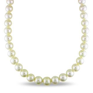 Miadora Signature Collection 14k Gold South Sea Pearl and Diamond Necklace (11-14 mm)