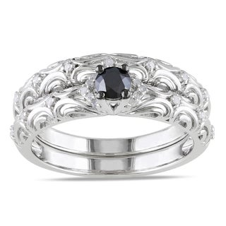 Haylee Jewels Sterling Silver 1/3ct TDW Diamond Bridal Ring Set (H-I, I2-I3)