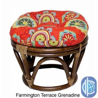 International Caravan Bali Rattan Outdoor Fabric Print 18-inch Round Ottoman