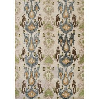 Alliyah Handmade Parrot Green, Beige, Fair Brown, Sun Orange, and Charcoal Blue New Zealand Blend Wool Rug (9' x 12')