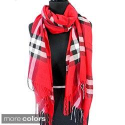 Red and Black Plaid Fringed Pashmina Fashion Scarf
