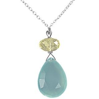 Ashanti Sterling Silver Blue Chalcedony Necklace (Sri Lanka)
