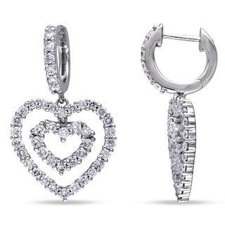 Miadora 14k Gold 1 4/5ct TDW Diamond Heart Earrings (G-H, SI1-SI2)