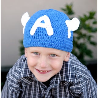 Handmade Blue Superhero Knit Hat
