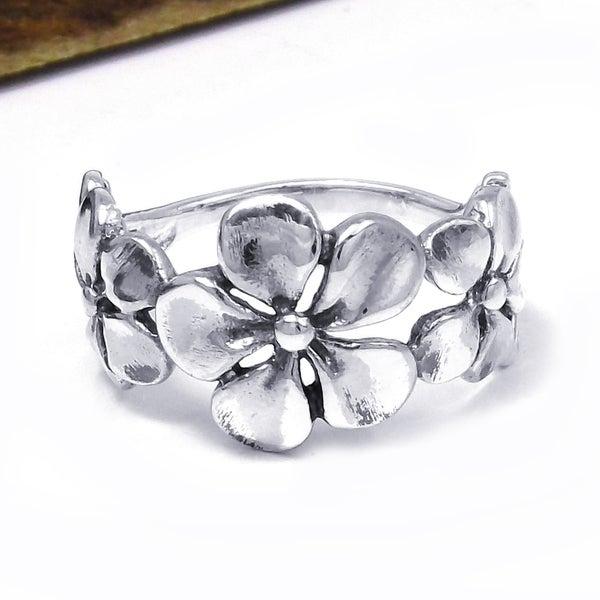 Hawaiian Style Triple Flower .925 Silver Ring (Thailand)