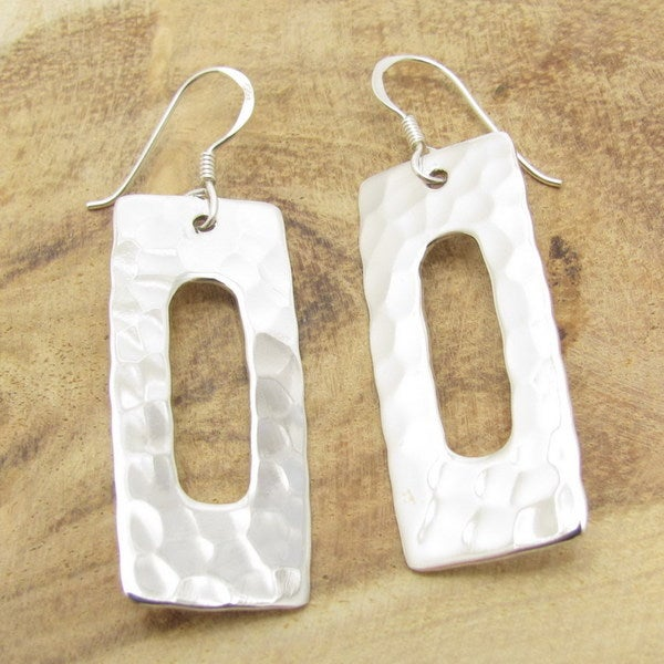 Modern Rectangle Hammered .925 Silver Earrings (Thailand)