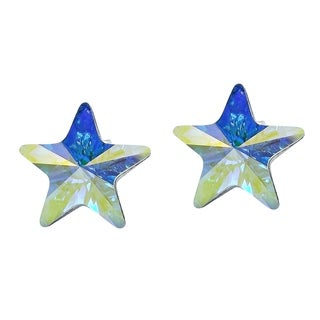 Prism Rainbow Crystal Star .925 Silver Earrings (Thailand)