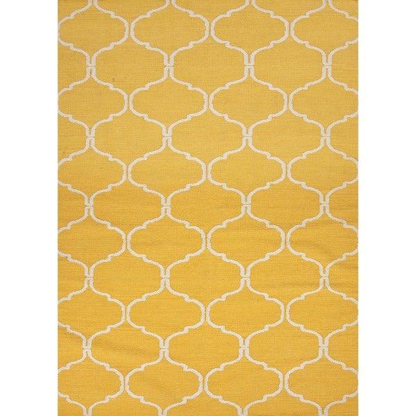 Handmade Geometric Flat Weave Yellow Wool Rug (8' x 10')