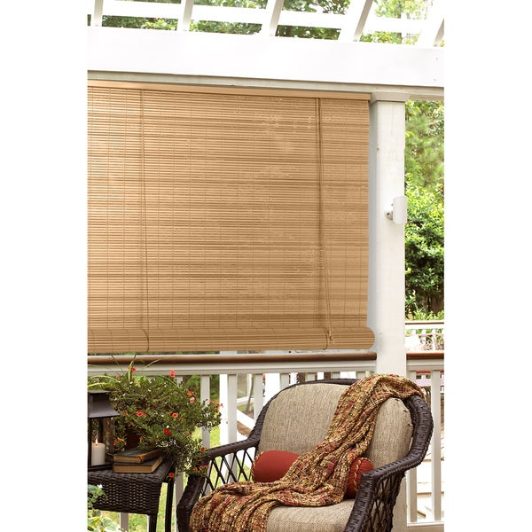 Oval Vinyl Woodgrain Roll Up Blind (30 x 72)